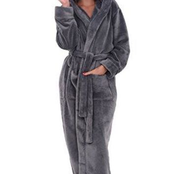 Alexander Del Rossa Womens Fleece Robe, Long Hooded Bathrobe