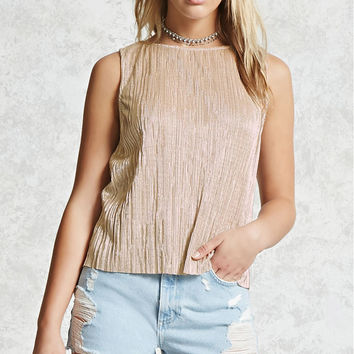 Crinkle Metallic Top