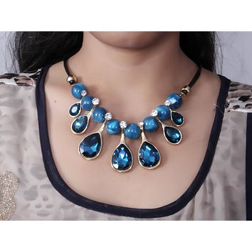 Blue Crystal Bead Stone Bib Necklace Set