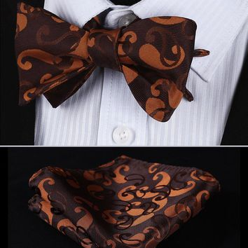 BP812N Orange Brown Paisley 100%Silk Jacquard Men Butterfly Self Bow Tie BowTie Pocket Square Handkerchief Hanky Suit Set