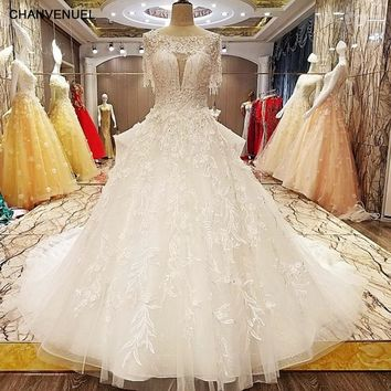 LS7080 princess style wedding dress beading crystal ball gown O neck short sleeves lace wedding gowns for bridal real photos