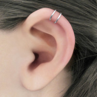Duality - 925 Sterling Silver Helix Double Band Ear Cuff