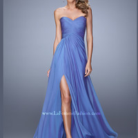 V-neck Floor Length La Femme Prom Dress 21057