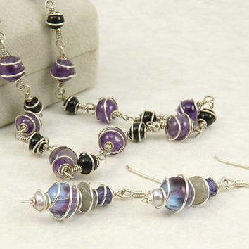 Sterling 925 Wire Wrapped Amethyst Necklace & Earrings