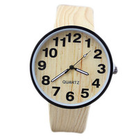 Unisex Wood Grain Leather Watch Mens Women Military Windproof Snowmobile Bicycle Motorcycle Watches