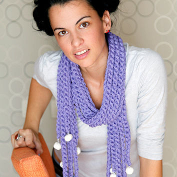 Lilac Knit Scarf With White Crochet Balls, Statement Shawl. 100% Handmade OOAK, Organic Cotton. Crochet Scarf