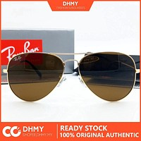Ray-Ban Rayban Aviator Metal Sunglasses RB3025/3026 Driving Glass Brown Eyewear