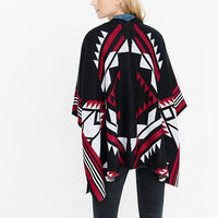 Graphic Southwest Print Open Poncho from EXPRESS