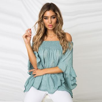 Summer sexy print a word shoulder wrap breast bare-back T-shirt