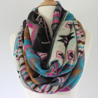 Chunky MuiltiColor Chevron Scarf- MultiColor Zig Zag Infinity Scarf - Pink Loop Scarf, Circle Scarf - Handmade Women's Accessory