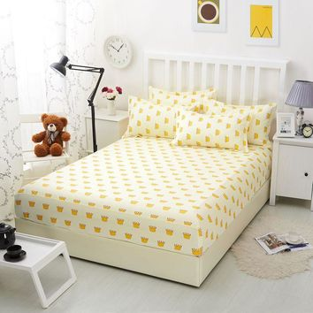 1pcs Bed Sheets With Elastic Band 100% Polyester Fitted Sheet Mattress Cover Cartoon Yellow Printed Bedding Bedspreads Bedsheet