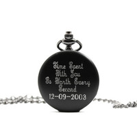 Engraved Pocket Watch, Black Personalized Pocket Watch, Gift For Him, Anniversary Gift For Husband