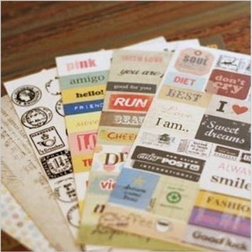 6 pcs/lot (1 bag ) Cute Vintage Paper love french Retro Stamp Sticker for Diary Scrapbooking Decoration gift Free shipping 907