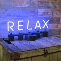 Plug and Play Neon Sign Phrase  Relax by neoslettering on Etsy
