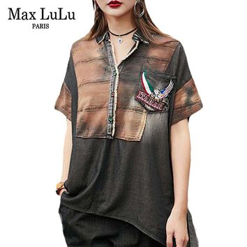 Max LuLu Summer Luxury Vintage Brand Girls Punk Tops And Blouses Womens Denim Long Shirts Casual Woman Clothes Plus Size Blusas