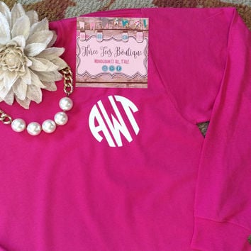 Monogram Long Sleeve Shirt. Monogrammed Shirt. Monogram Shirts for Women. Monogram Shirt Bridesmaid Gift. Monogram Shop. Monogrammed Gifts