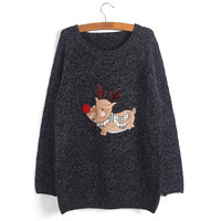 Ribbed Trim Christmas Deer Patchwork Heathered Pullover Sweater