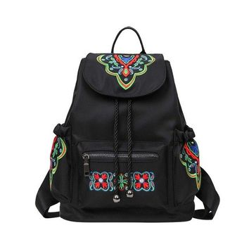 University College Backpack Wallike Chinese National Tide Embroidered  Women Floral Nylon Vintage Female Travel  Bag  Girl School BagAT_63_4