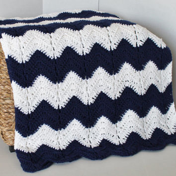 Afghan - Handmade Ripple Crochet Blanket - Navy Blue and White