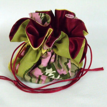 Drawstring Jewelry  Bag, Travel Tote Lotus by Amy Butler Medium