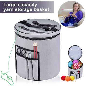 Canvas Large Cylinder Woolen Yarn Organizer Storage Bag with Compartments for Crocheting Mesh Bag(Multicolor)