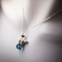 """Save polar bear sterling silver 16"""" necklace with london blue quartz heart necklace for adults and kids"""