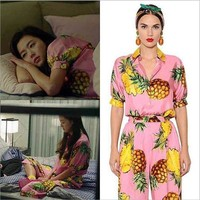 DCCKU62 2017 New Women's Silky Pineapple Pattern Pajama Sets Sleep Suit