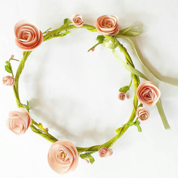 Paper rose hair wreath. Crown size adjustable, paper flower colors can be custom picked. Ties with light green ribbon. Various flower sizes