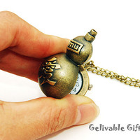 Naruto Garra's Sand Gourd pocket watch-with Chinese word love NWN01