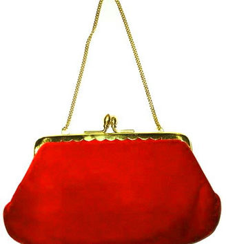Vintage 50s Pure RED Velvet Evening Bag Convertible to Clutch Chain Strap. RED Velvet Gold Frame Clutch  - Mint Condition