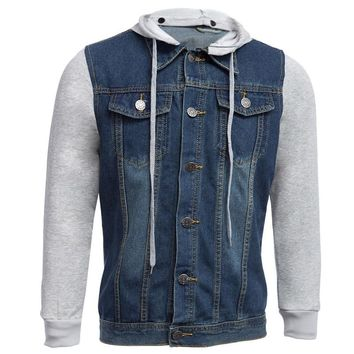 2017 Fashion Spring Autumn New Arrival Men's Patchwork Hooded   denim Jacket casual Coats Outwear Men Clothing