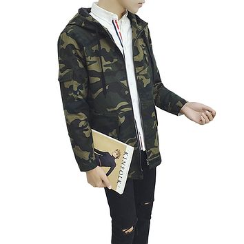 YJSFG HOUSE Camouflage Army Green Long Trench Coat Men Vintage Casual Hooded Jacket And Coat Autumn Loose Men Outwears