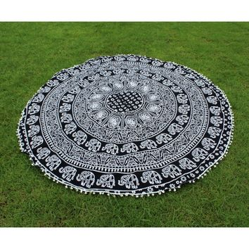 Elephant Mandala Round Tapestry Table Cloth in Black & White