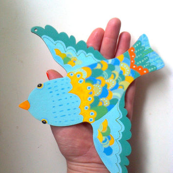 Handpainted wooden bird art decoration , ornament,. Colorful bird of happiness by Wassupbrothers
