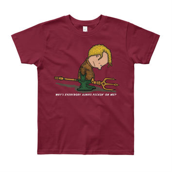 Why's Everybody Always Picking On Me? Aquaman Charlie Brown Youth T-Shirt - Made in USA