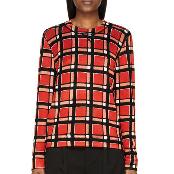 Marc By Marc Jacobs Red Check Toto Sweater