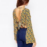 ASOS 70s Geo Floral Kimono Sleeve Crop Top With Open Back And Tie