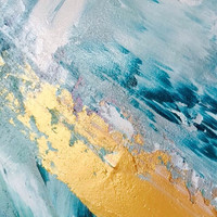 Blue and gold painting blue and gold abstract artwork blue and gold painting blue abstract artwork ocean art sea painting storm painting s