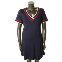 Tommy Hilfiger Womens Jorjee Contrast Trim Short Sleeves Casual Dress
