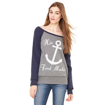 His First Mate - Wife or Bride Anchor Sweatshirt