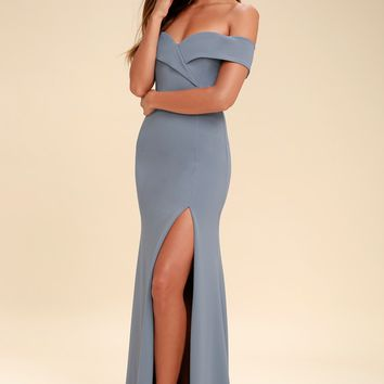 Song of Love Blue Grey Off-the-Shoulder Maxi Dress