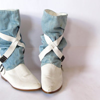 vintage 90s acid wash denim and white leather slouch boots. size 8
