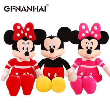 1pc 40cm kawaii Mickey red Minnie and pink Minnie plush toy stuffed soft cute animal mouse doll cartoon for kids birthday gift
