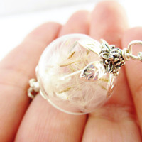 Dandelion Seed Wishing Orb Blown Glass Orb Necklace in Silver or Bronze, Hipster Jewelry, Bridesmaids Gifts