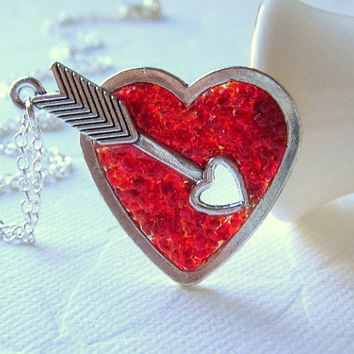 Heart Arrow Necklace Girlfriend Valentines Gift Ruby Red Heart Pendant Arrow Threw Heart Valentine Pierced Heart Birthstone Jewelry