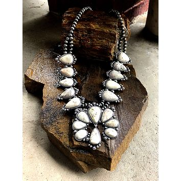 Large White Floral Squash Blossom Necklace