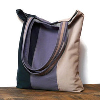 Tote bag canvas color block market bag shopping bag stripes bag blue purple beige