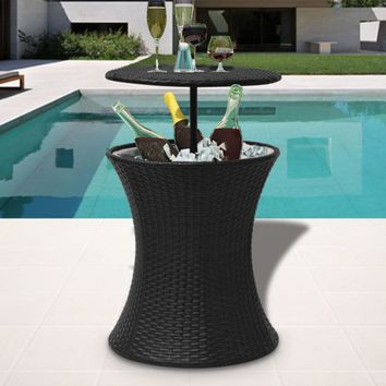 Ice Cooler Bucket Table Poly Rattan Black
