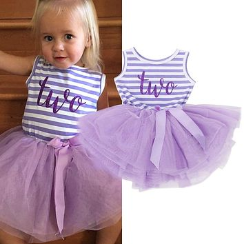 Summer Toddler Baby Dress First Communion Stripe Baptism Child Clothes 1 Year Birthday Baby Girls Dresses for Infant 0 2 year