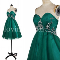 Short Royal Green Prom Dresses Beautiful Appliques Bridesmaid Dresses Homecoming Dresses Party Dresses 2014 New Fashion